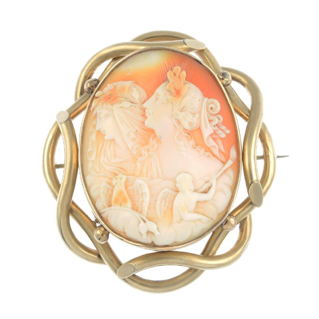 A mid Victorian gold cameo brooch. The oval shell