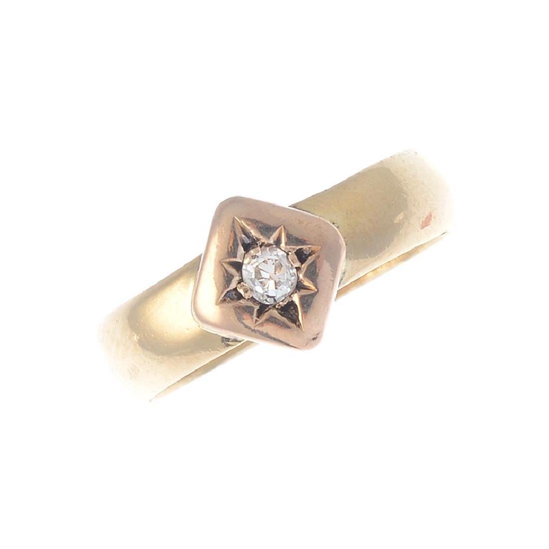 A late Victorian 18ct gold diamond single-stone ring.