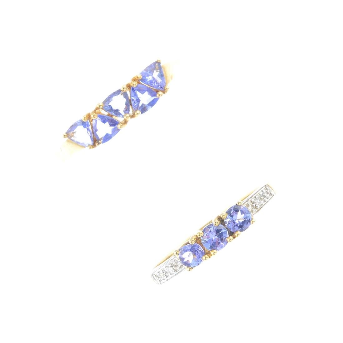 Two 9ct gold tanzanite and diamond rings. To include a