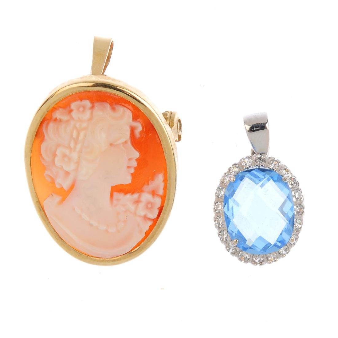 Two gem-set pendants. To include a shell cameo pendant,
