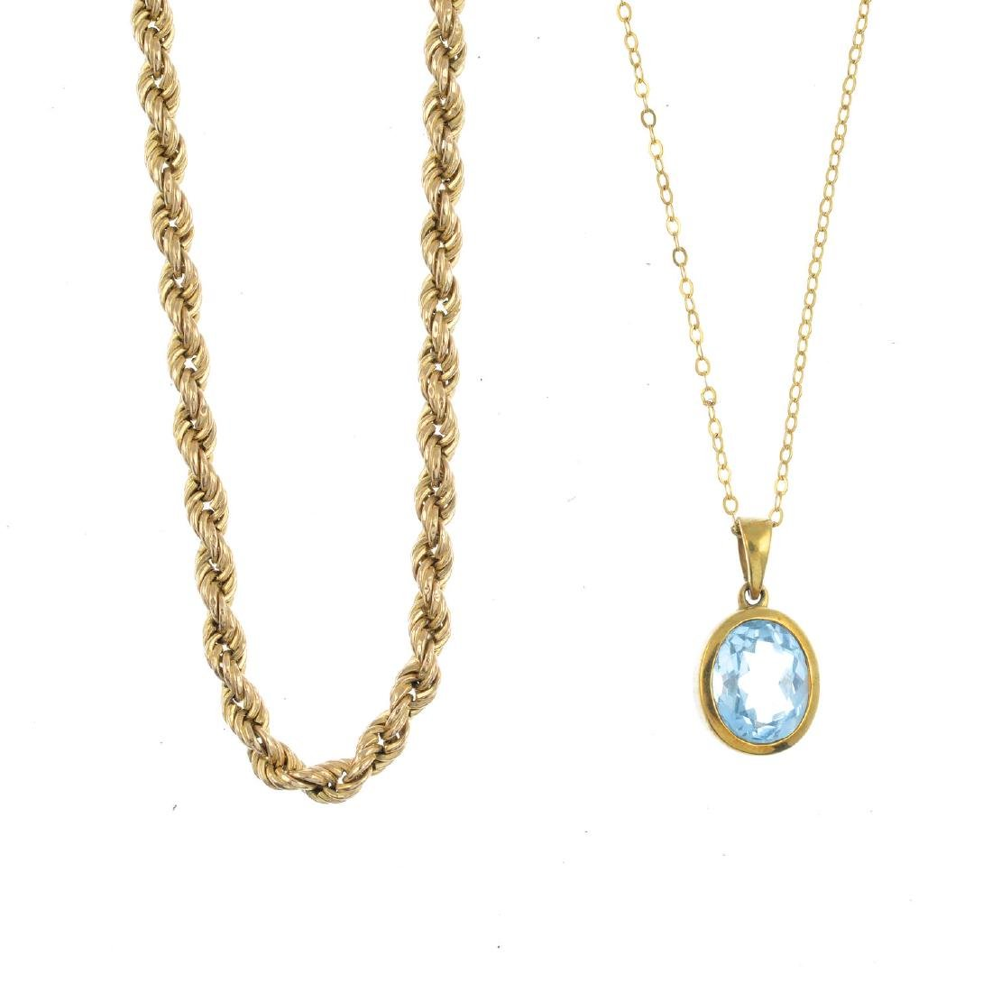 A selection of jewellery. To include a 9ct gold blue