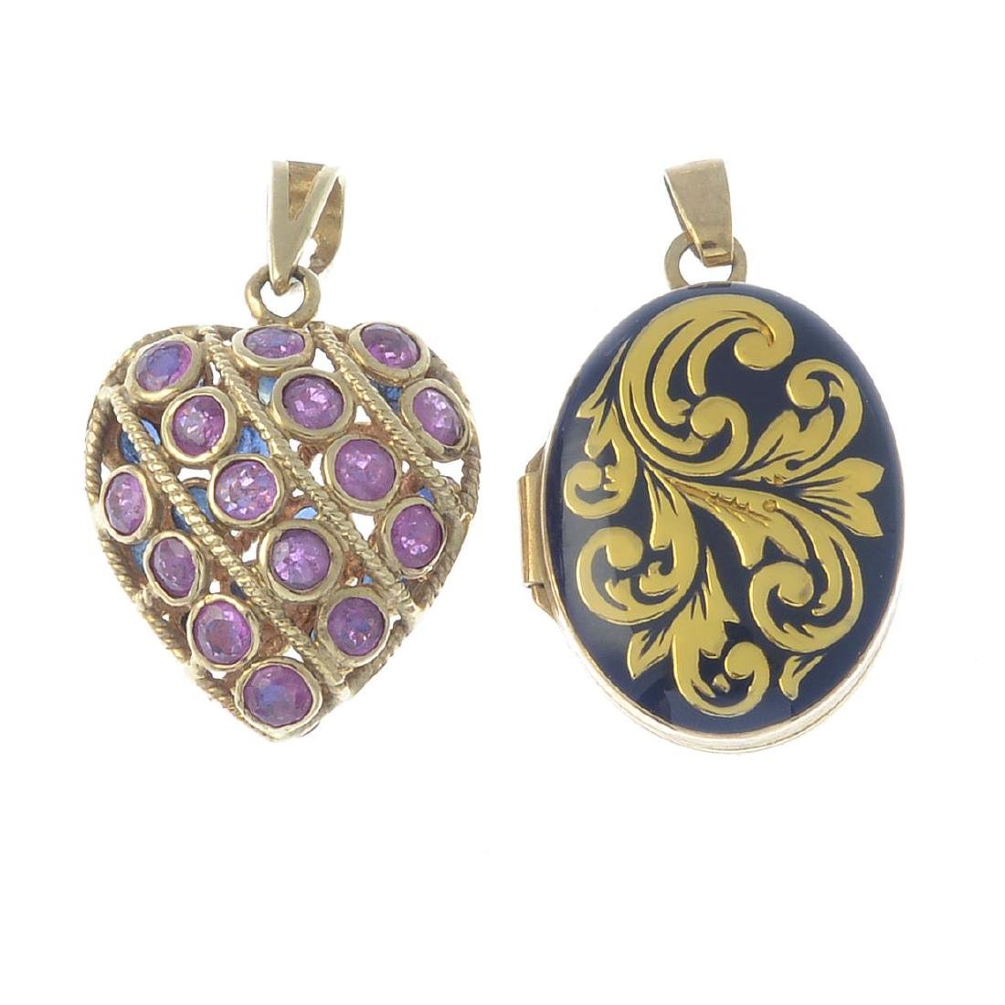 Two 9ct gold gem-set rings and two pendants. To include