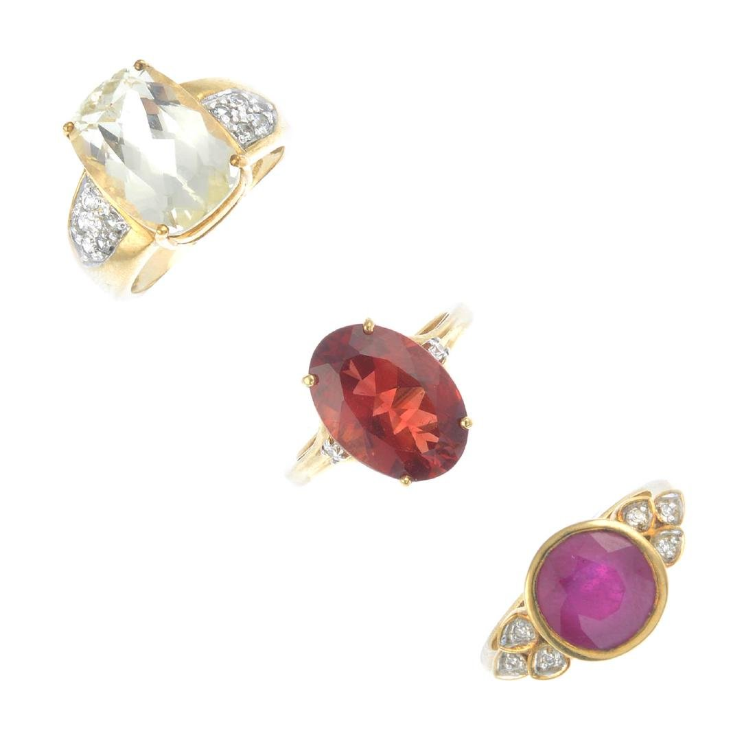 Three 9ct gold gem-set rings. To include a ruby and
