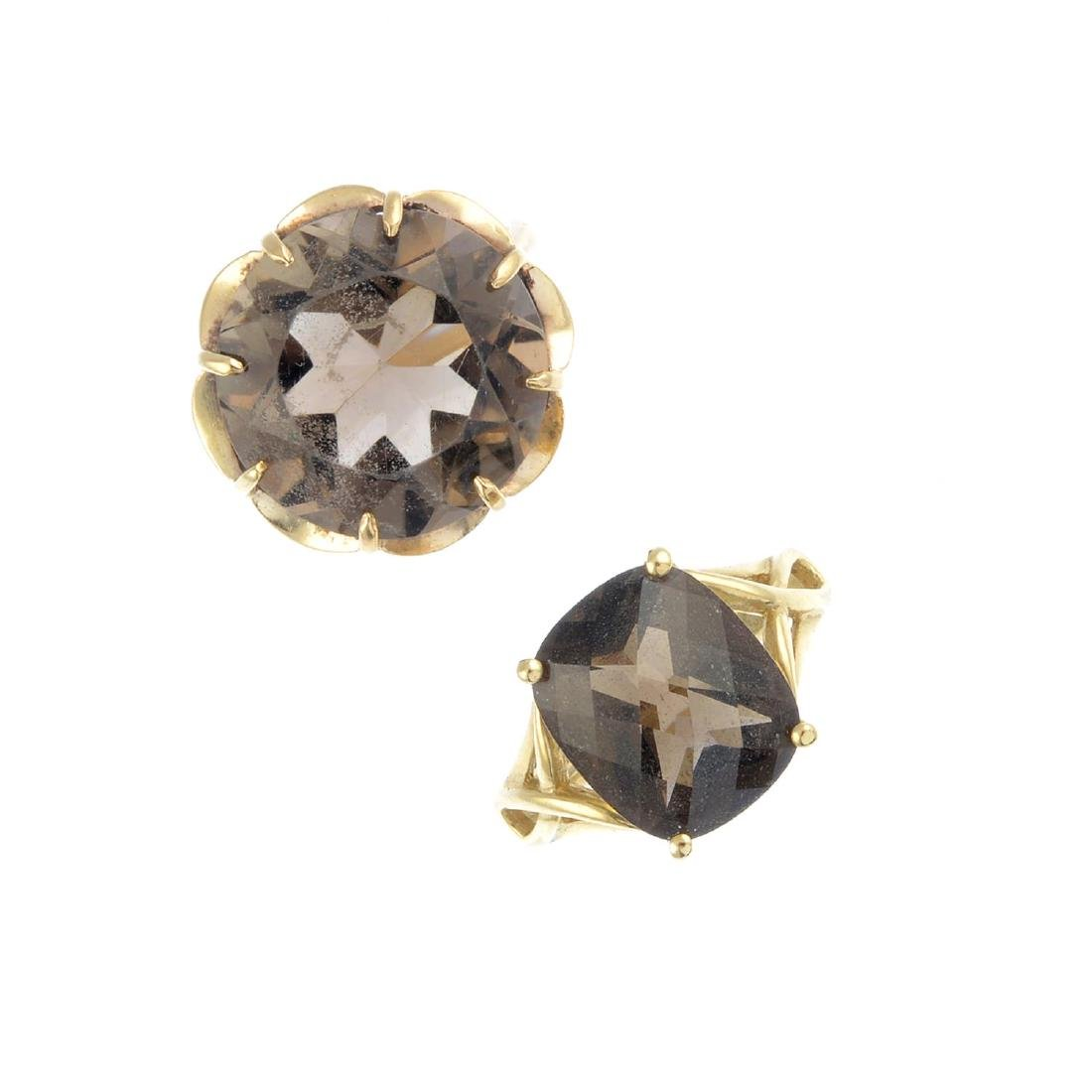 Two 9ct gold smoky quartz rings. The first designed as