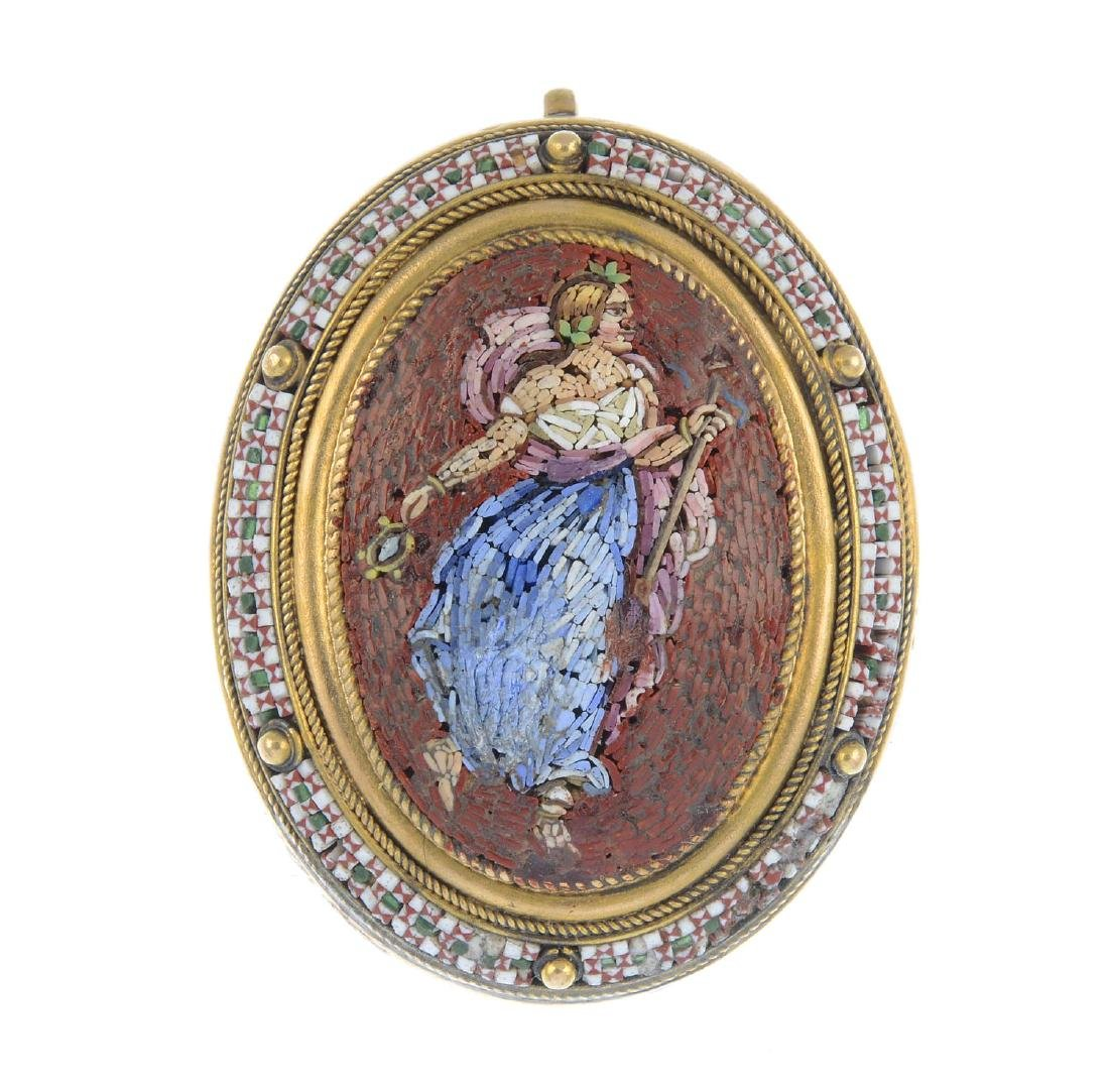 A late Victorian gold micro mosaic brooch. Of oval