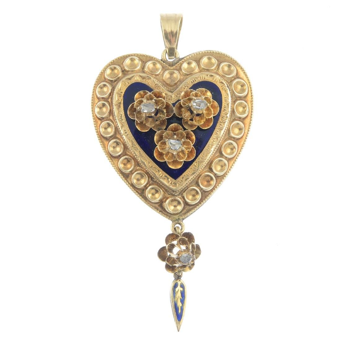A diamond and enamel pendant. The heart-shape blue