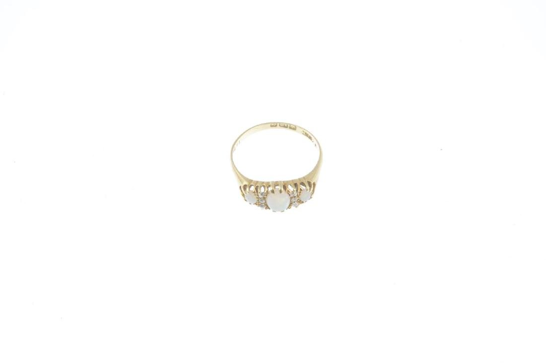 An early 20th century 18ct gold opal and diamond ring. - 2