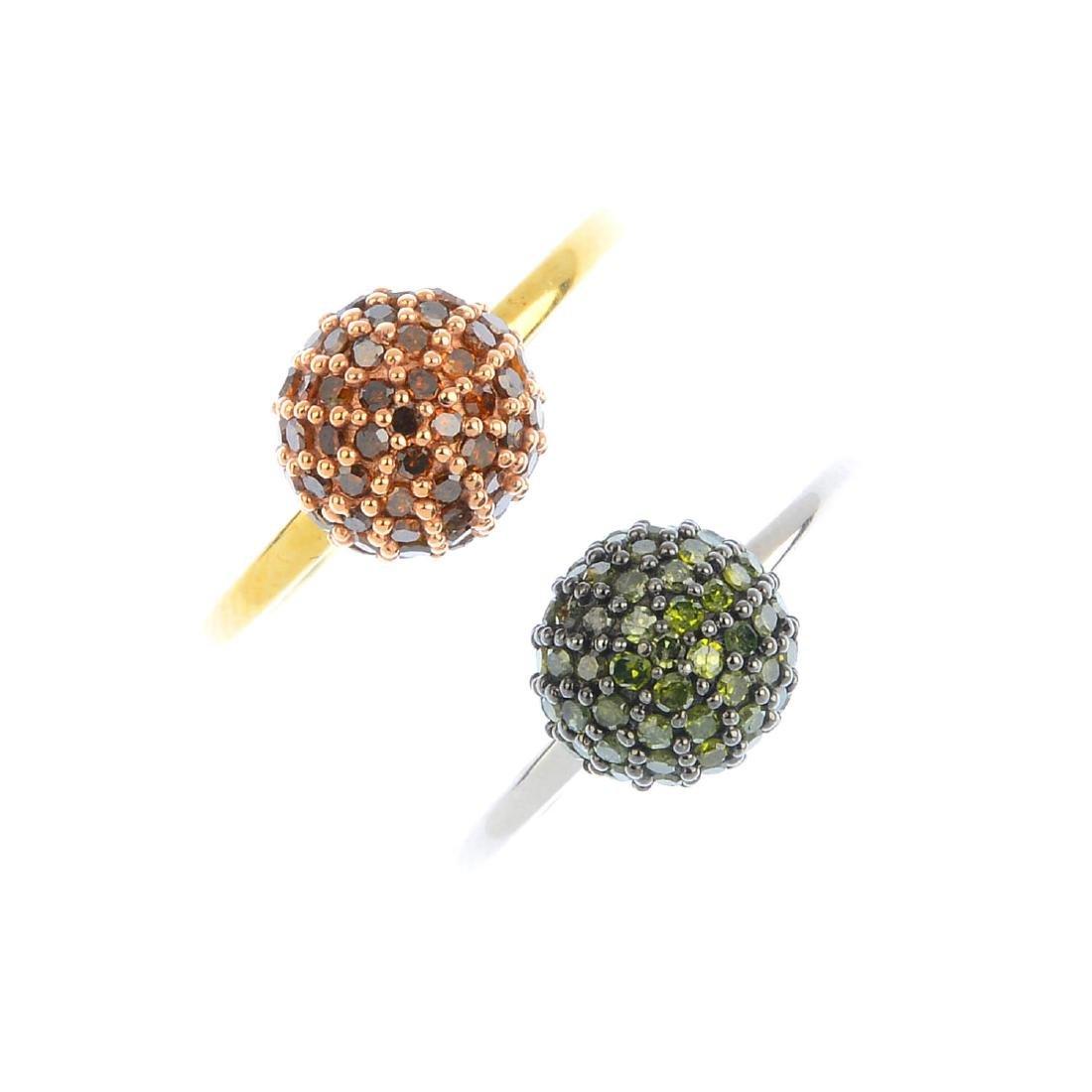 Three 9ct gold 'coloured' diamond dress rings. To