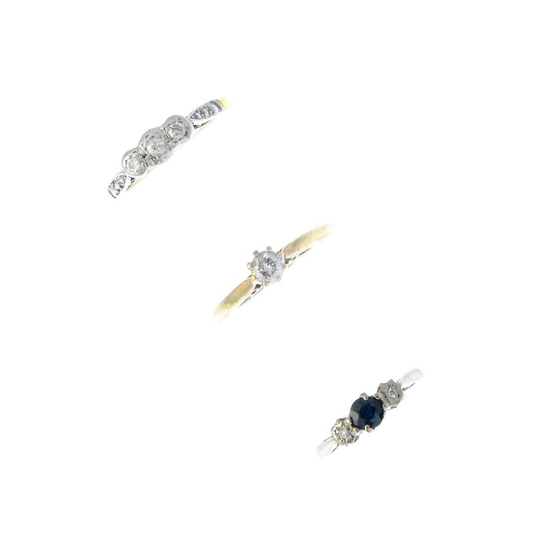 Three diamond rings. To include an 18ct gold diamond