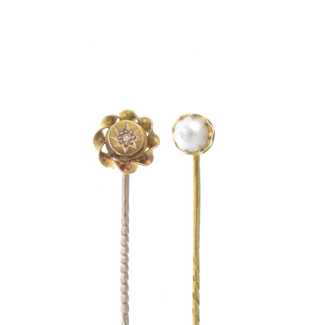 Two stickpins. To include an early 20th century diamond