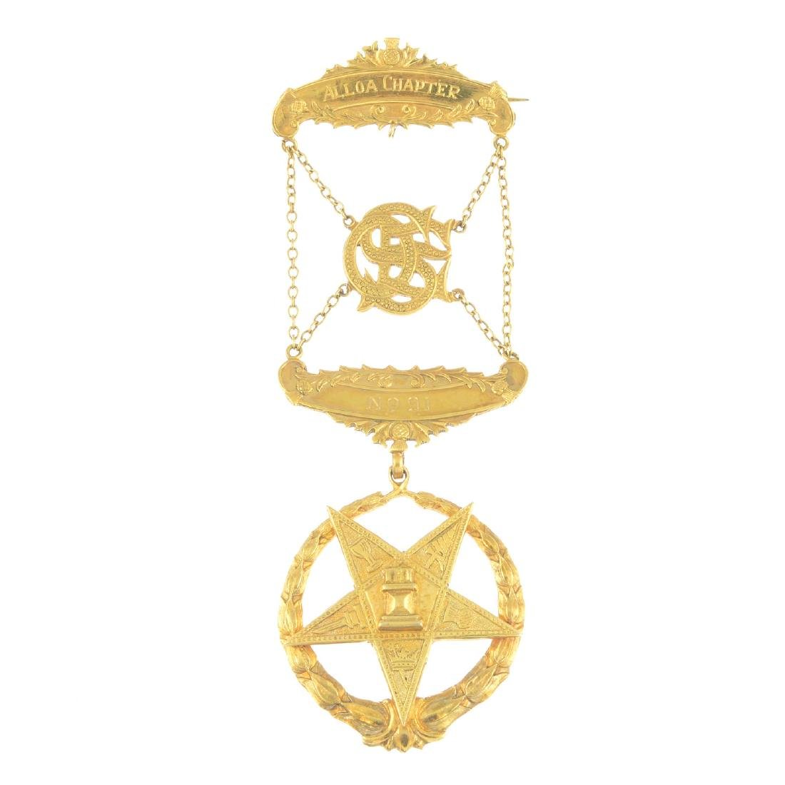A mid 20th century 9ct gold Masonic brooch. The 'Order