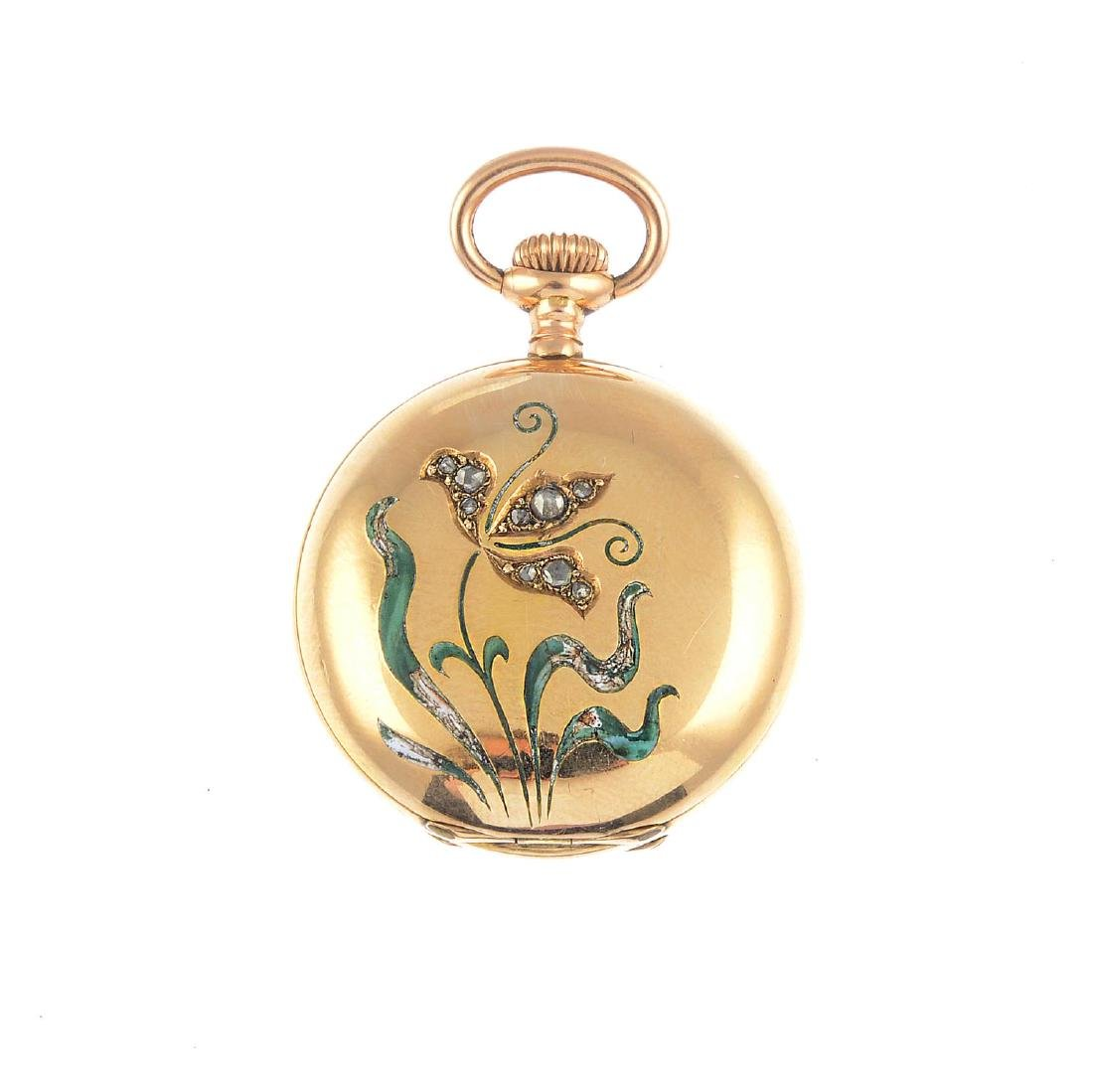 An early 20th century 14ct gold, diamond and enamel fob