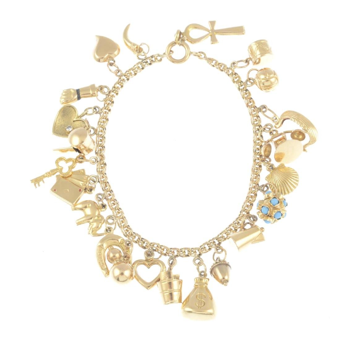 (209758) A charm bracelet. The fancy-link chain,