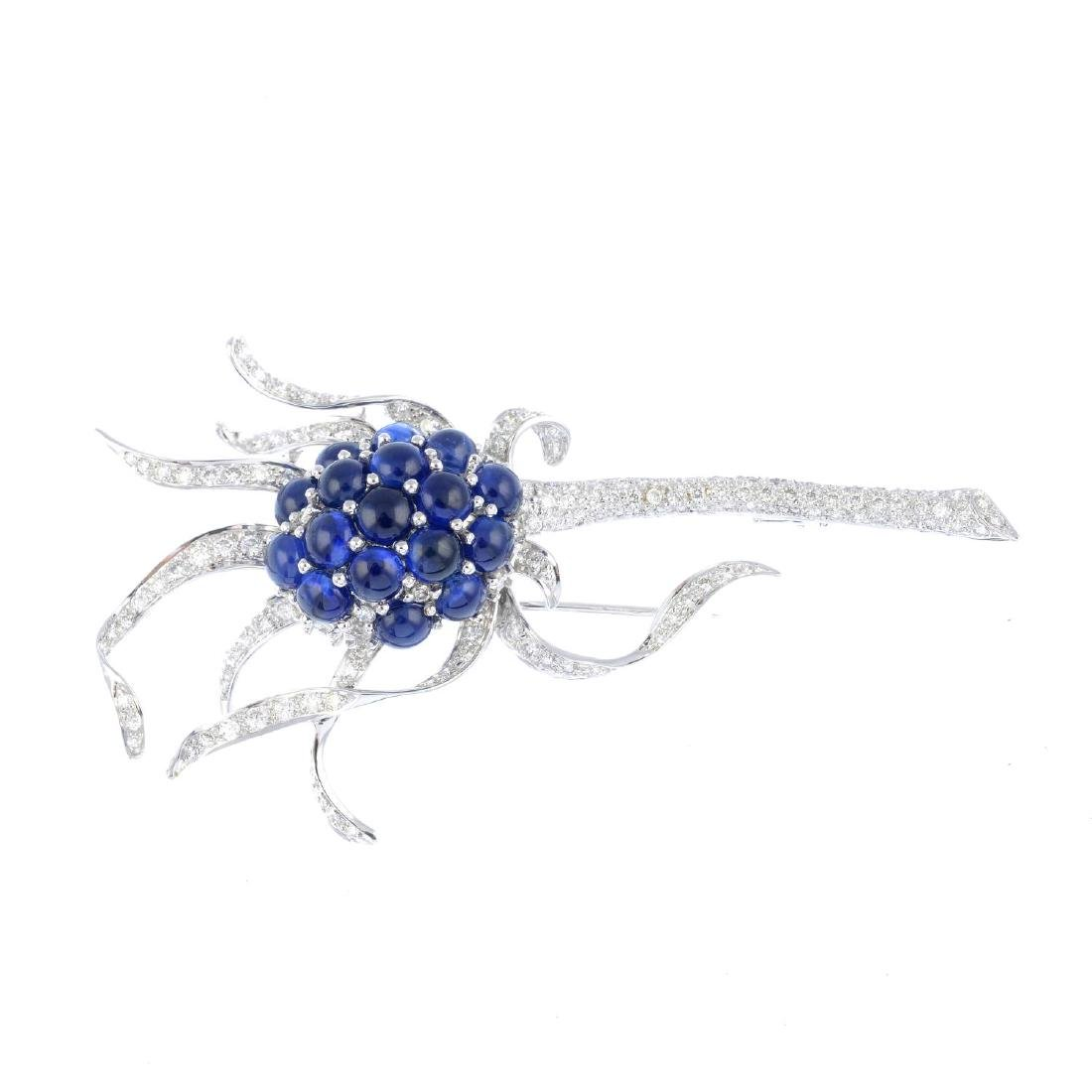 (203187) A sapphire and diamond brooch. Designed as a
