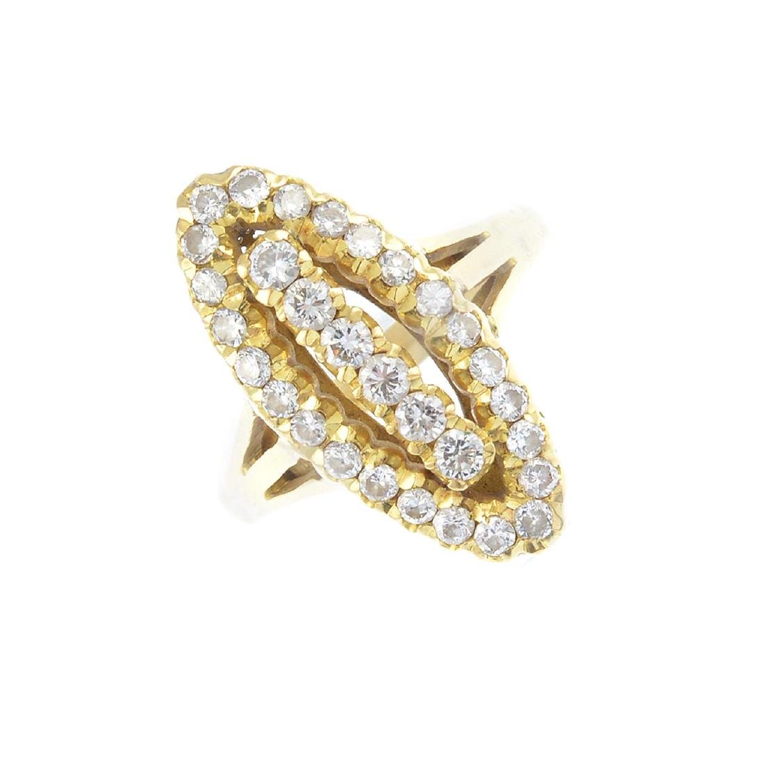 (104421) A diamond dress ring. Of marquise-shape