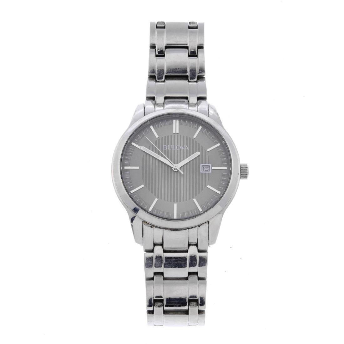 BULOVA - a gentleman's bracelet watch. Stainless steel