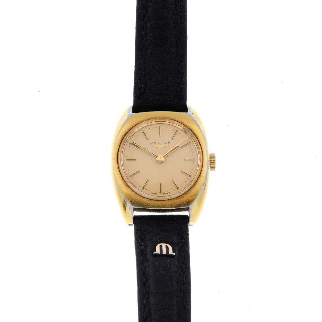 LONGINES - a lady's wrist watch. Gold plated case with