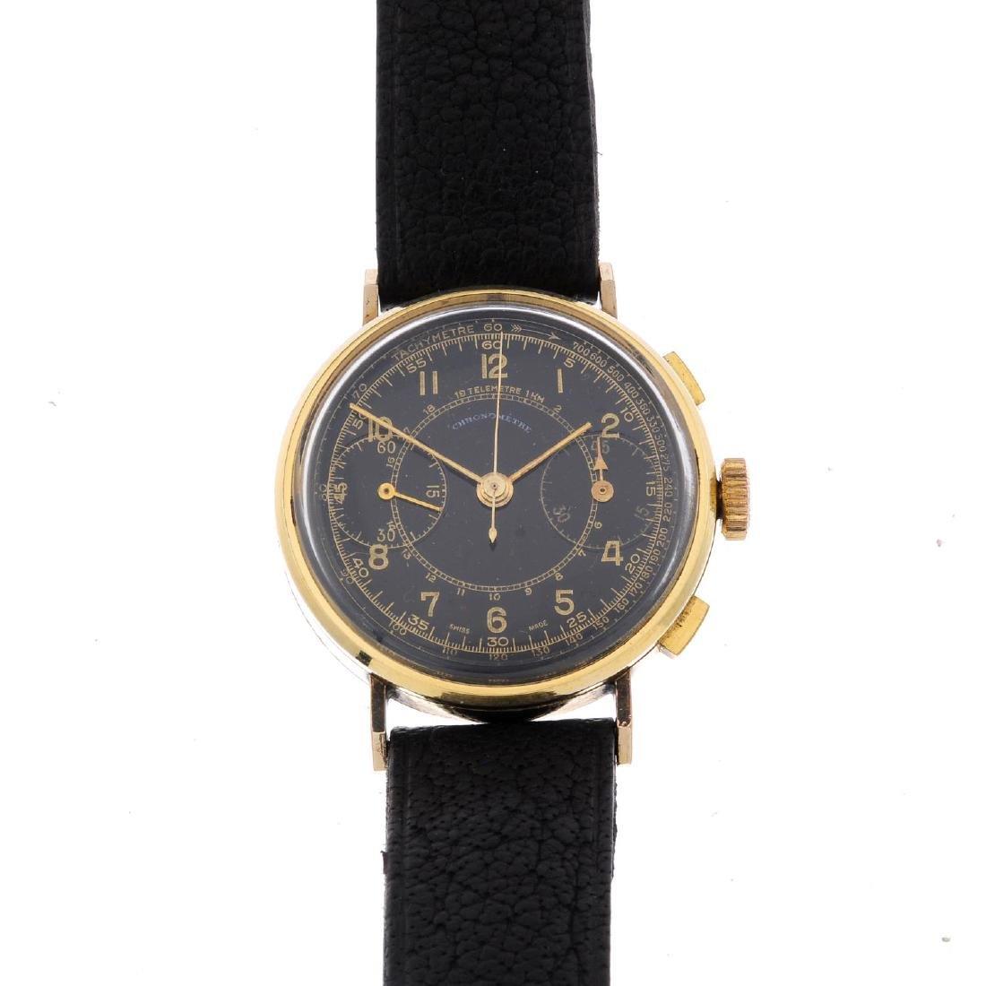 A gentleman's chronograph wrist watch. Gold plated