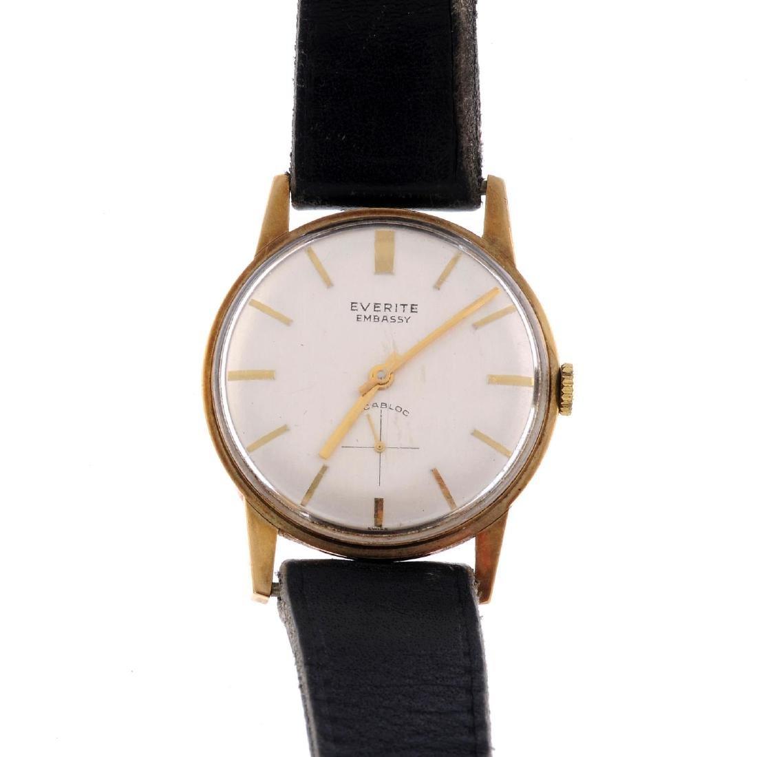 EVERITE - a gentleman's Embassy wrist watch. 9ct yellow