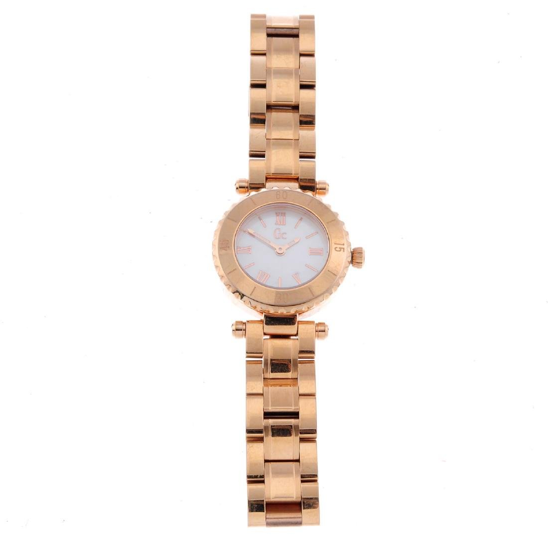 GC - a lady's bracelet watch. Rose gold plated case