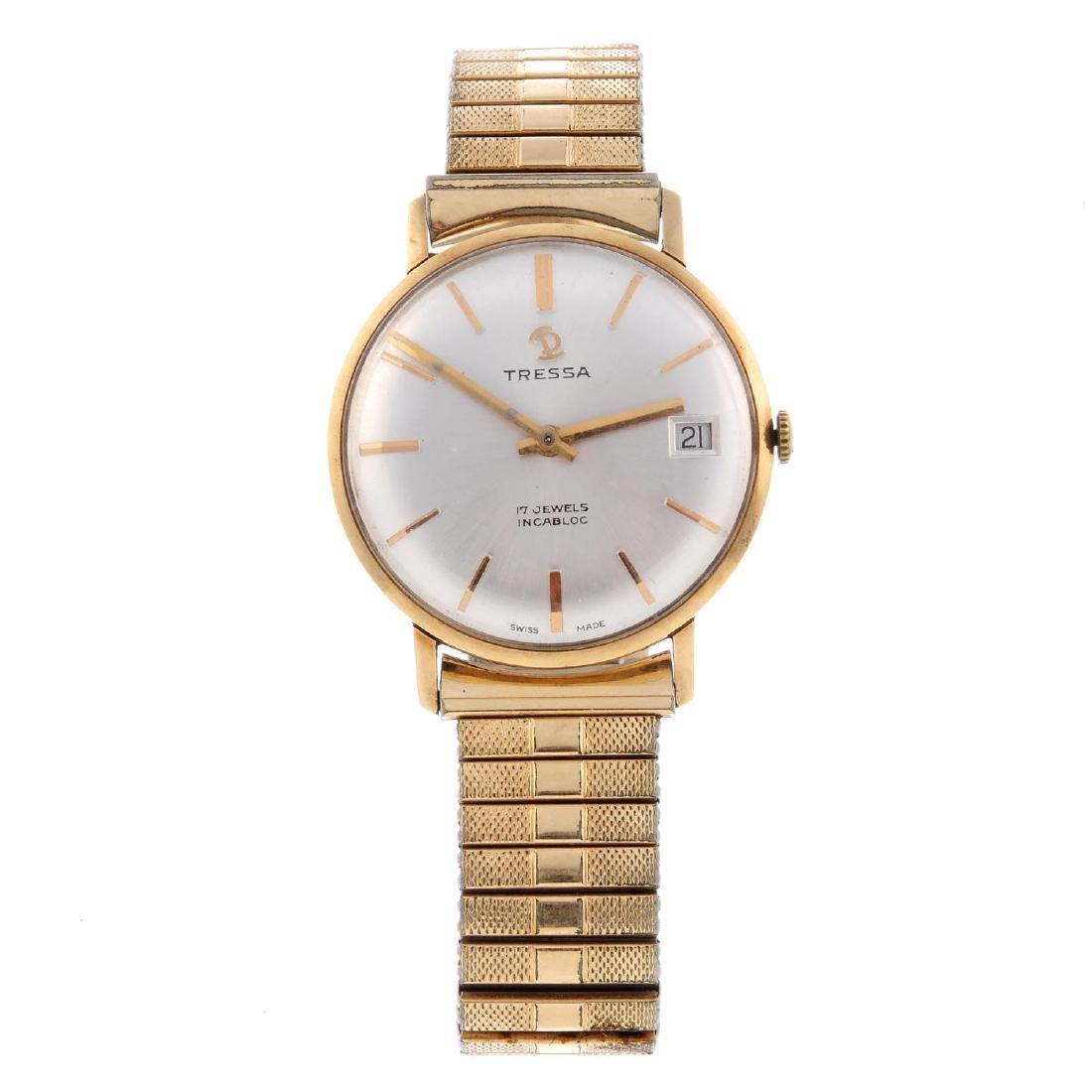 TRESSA - a gentleman's bracelet watch. Yellow metal