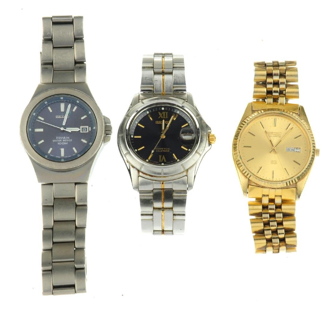 A group of eleven assorted Seiko watches. All