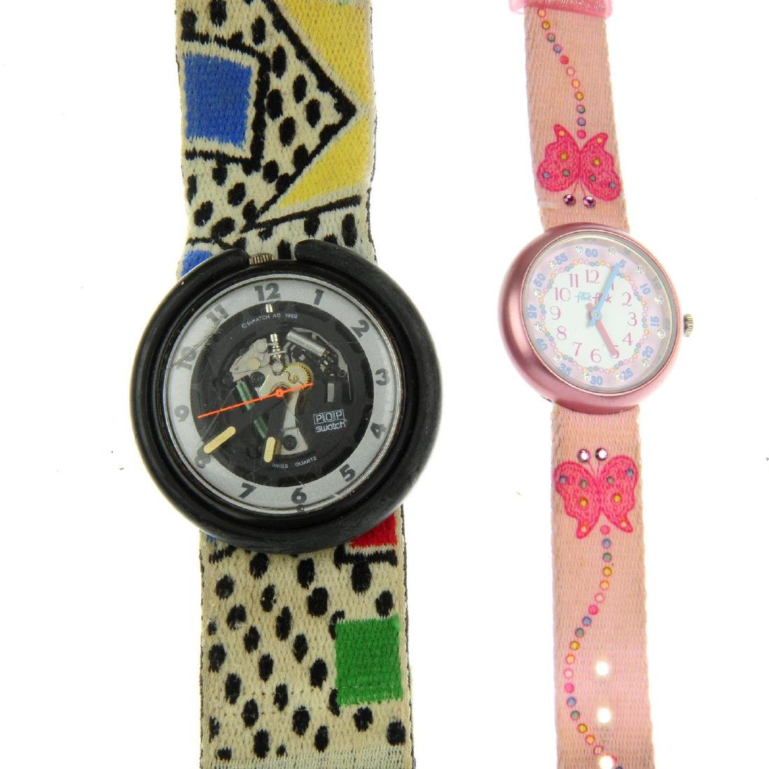 A bag of assorted Swatch and Flick Flack watches. All