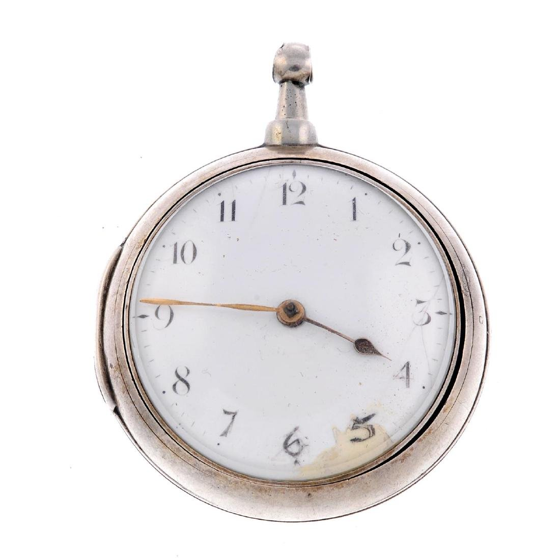 A  pair case pocket watch by J.How. Silver cases with