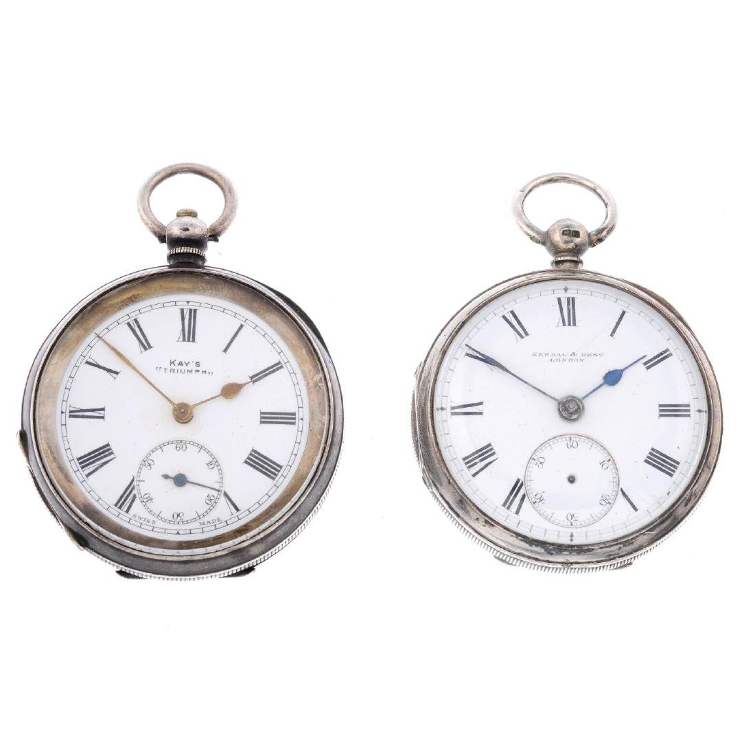 An open face pocket watch by Kay's. Silver case, import