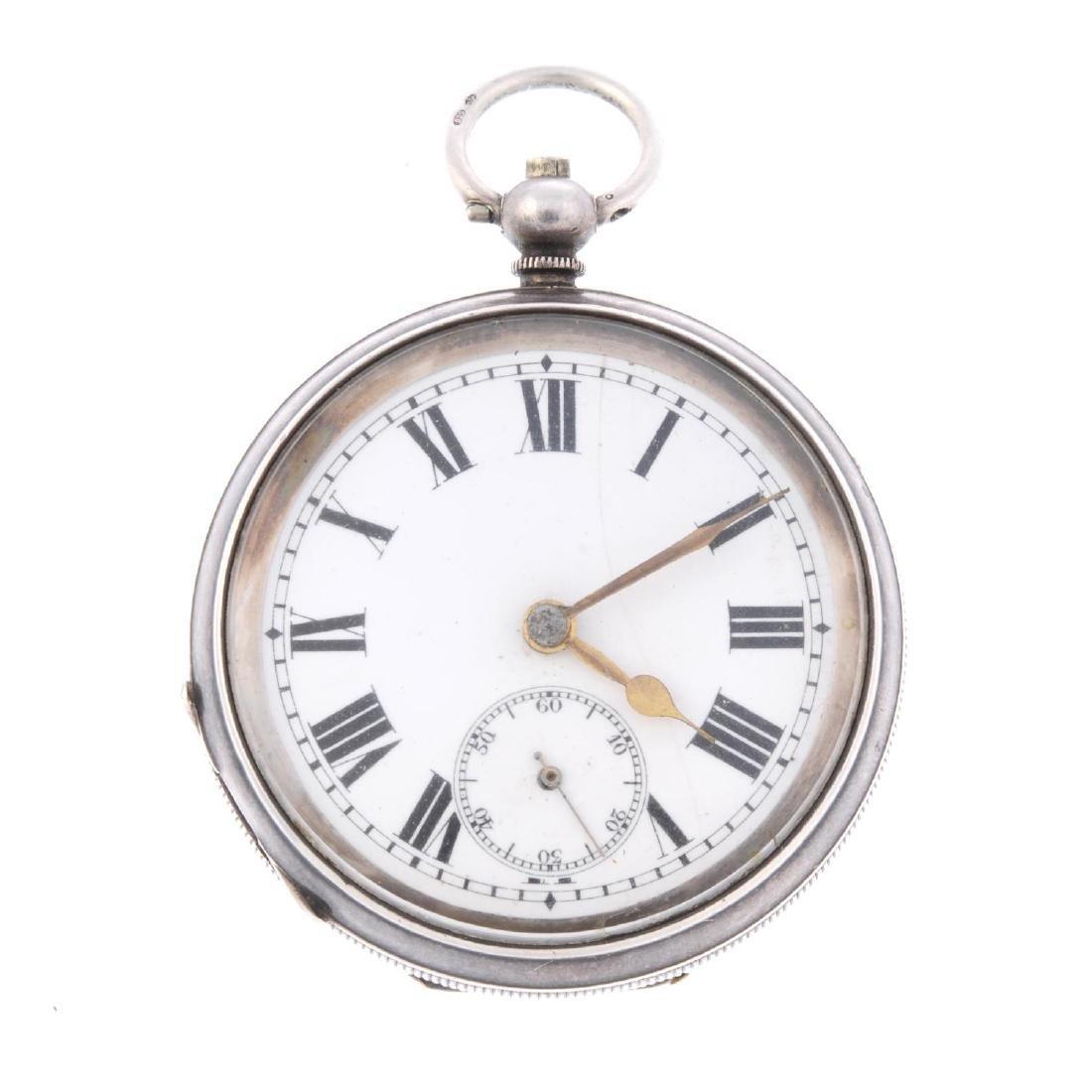 An open face pocket watch. Silver case, import hallmark