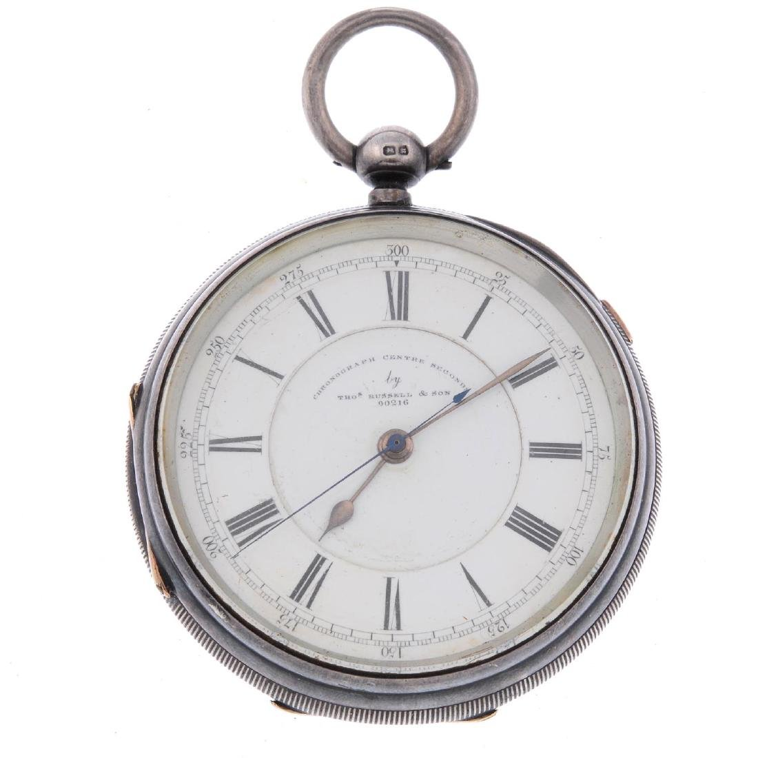 An open face centre seconds pocket watch by T.Russell.