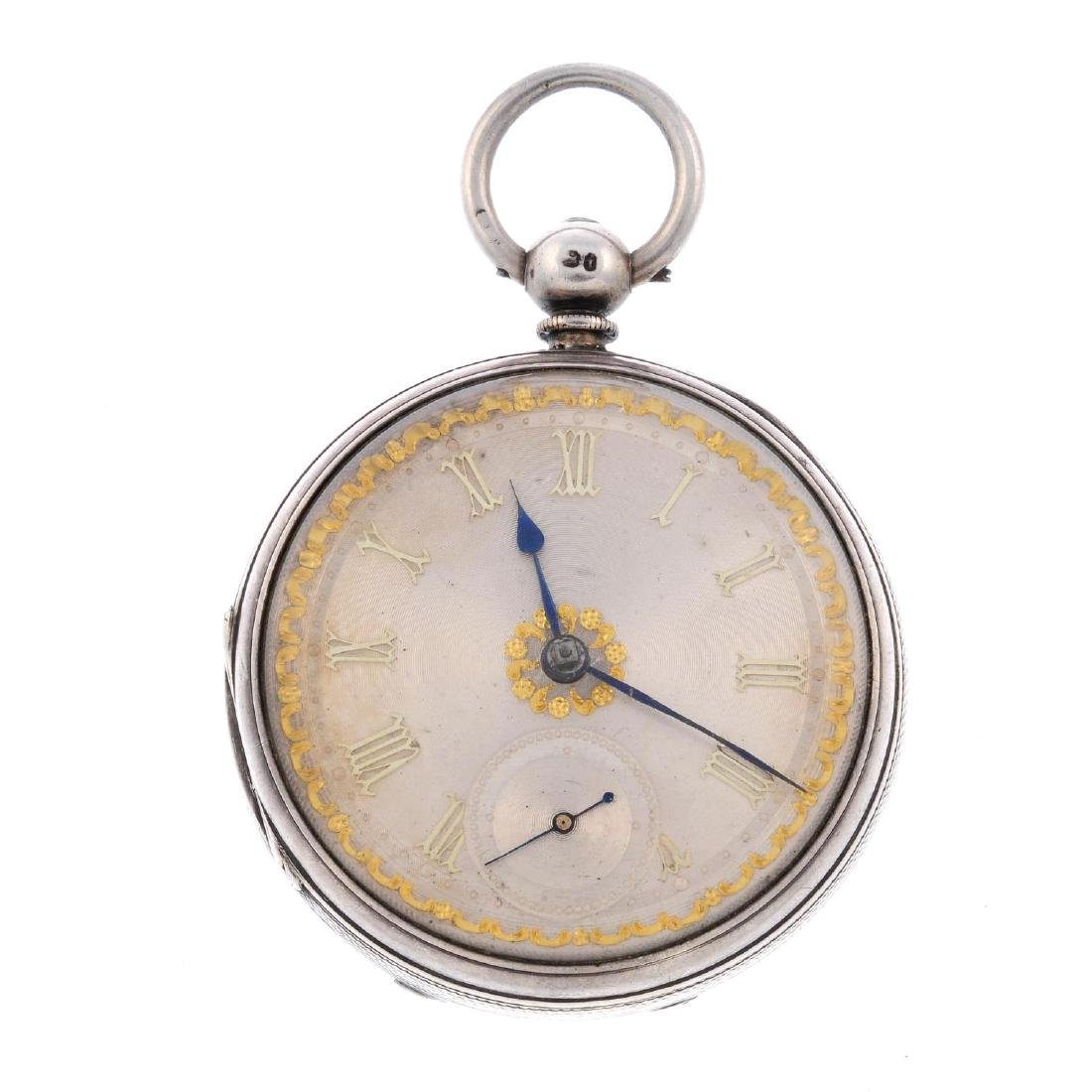 An open face pocket watch. Silver case, hallmarked