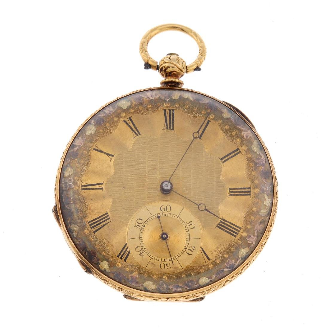 An open face pocket watch. Yellow metal case, stamped
