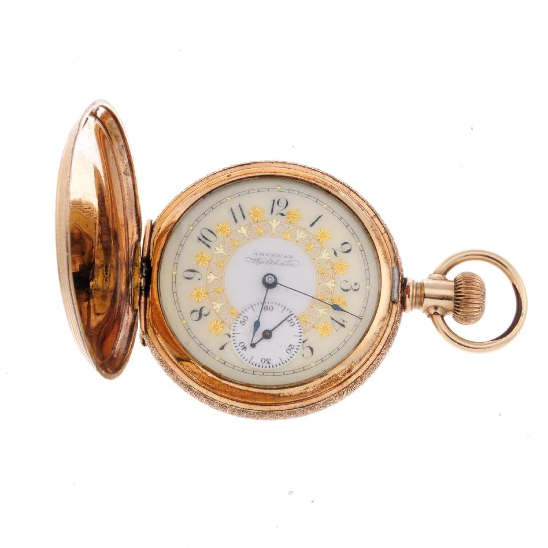A full hunter pocket watch by Waltham. Gold plated case