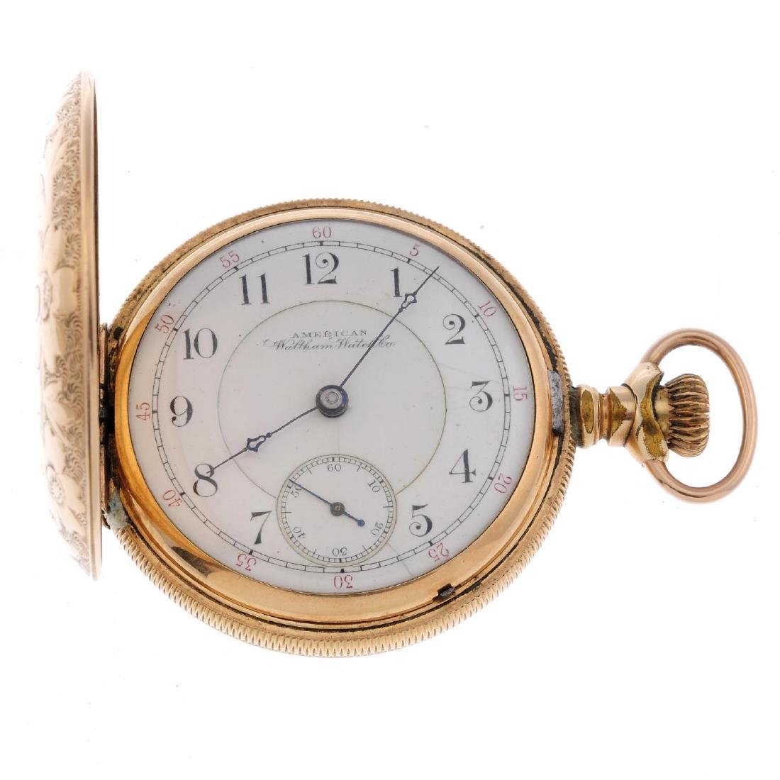 A full hunter pocket watch by Waltham. Gold plated