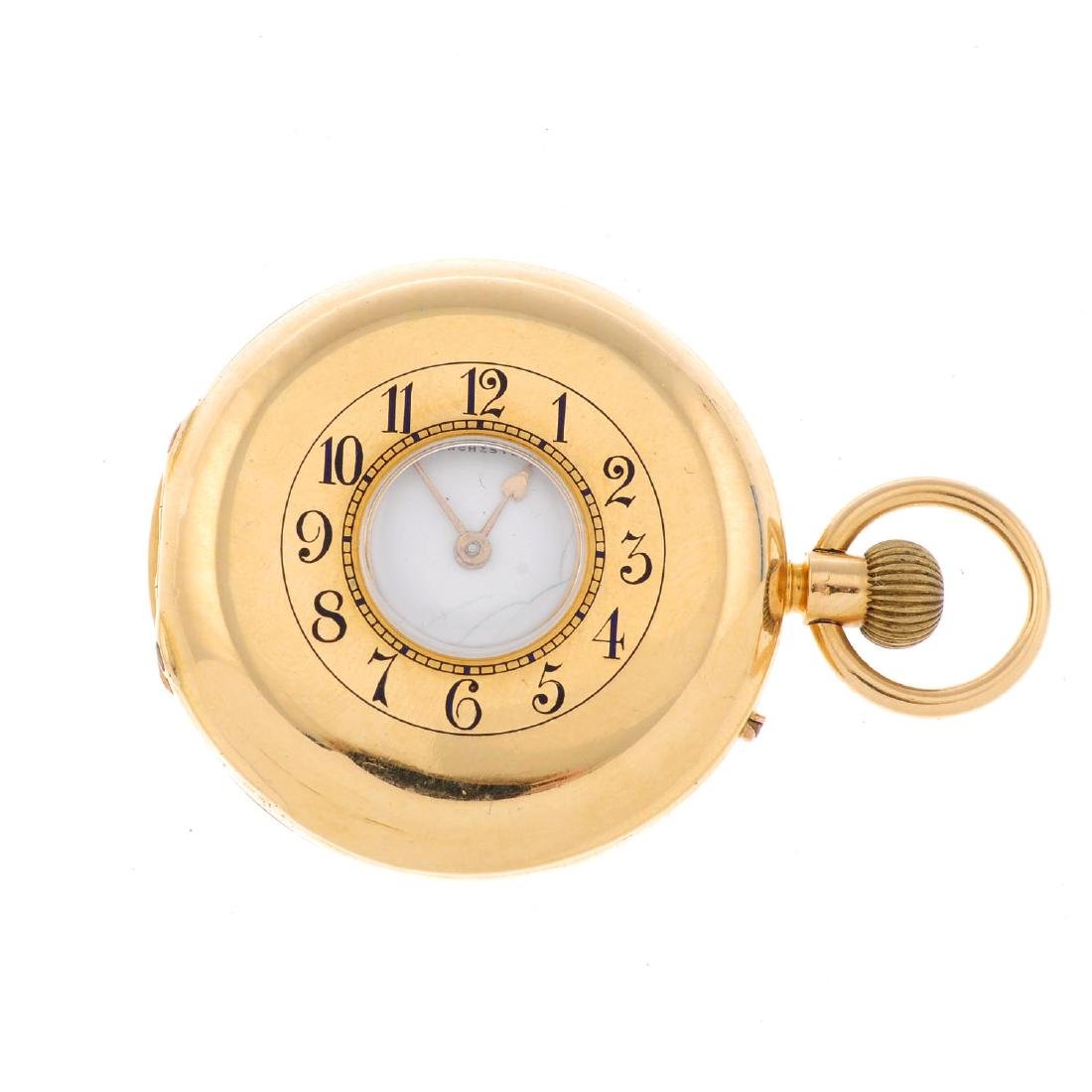 A half hunter pocket watch by Ollivant & Botsford. 18ct
