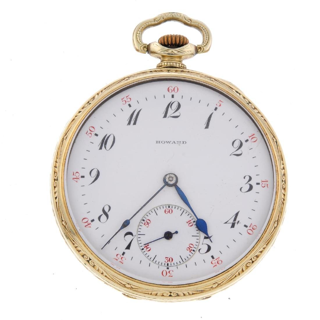 An open face pocket watch by Howard. Gold plated case.