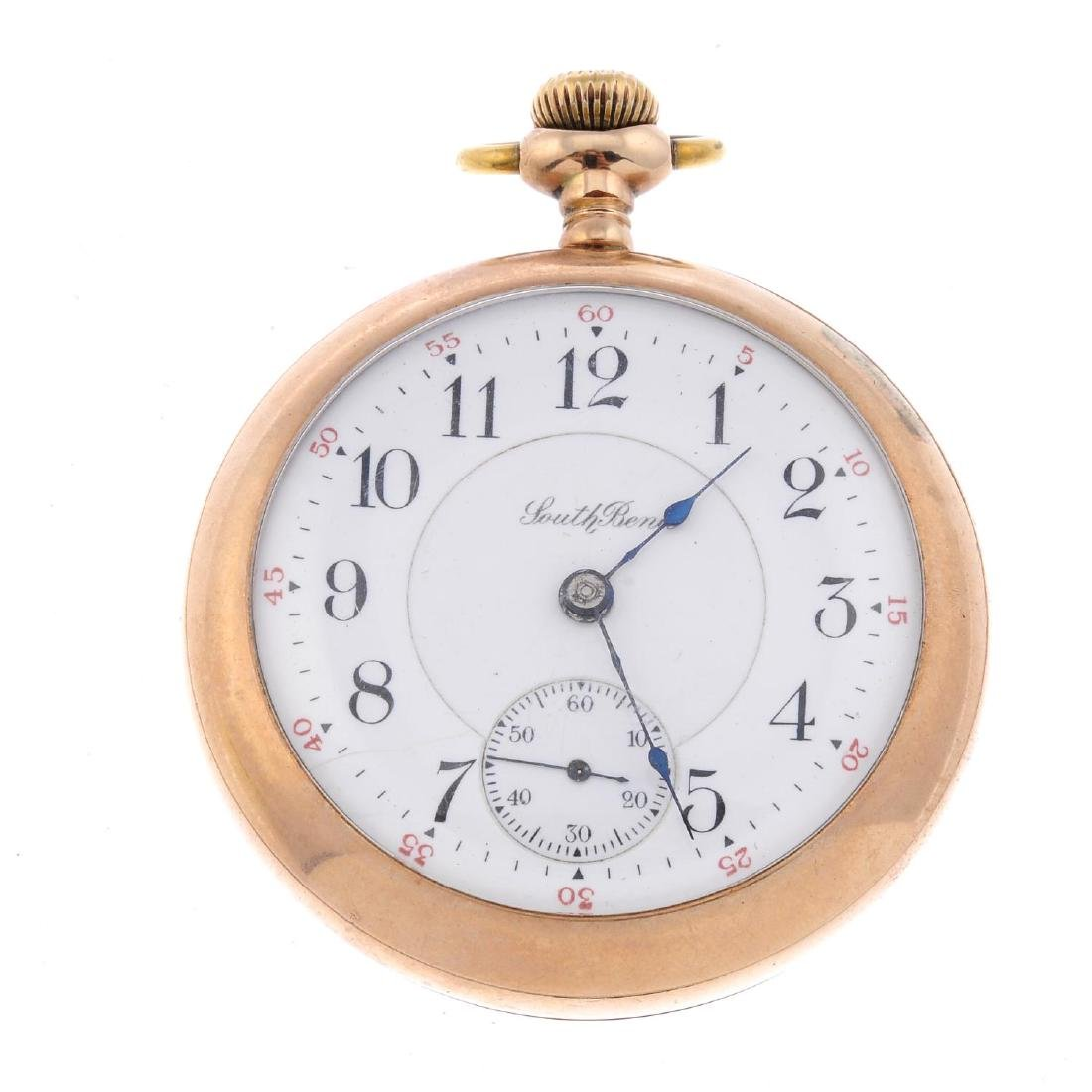 An open face pocket watch by South Bend Watch Co. Gold