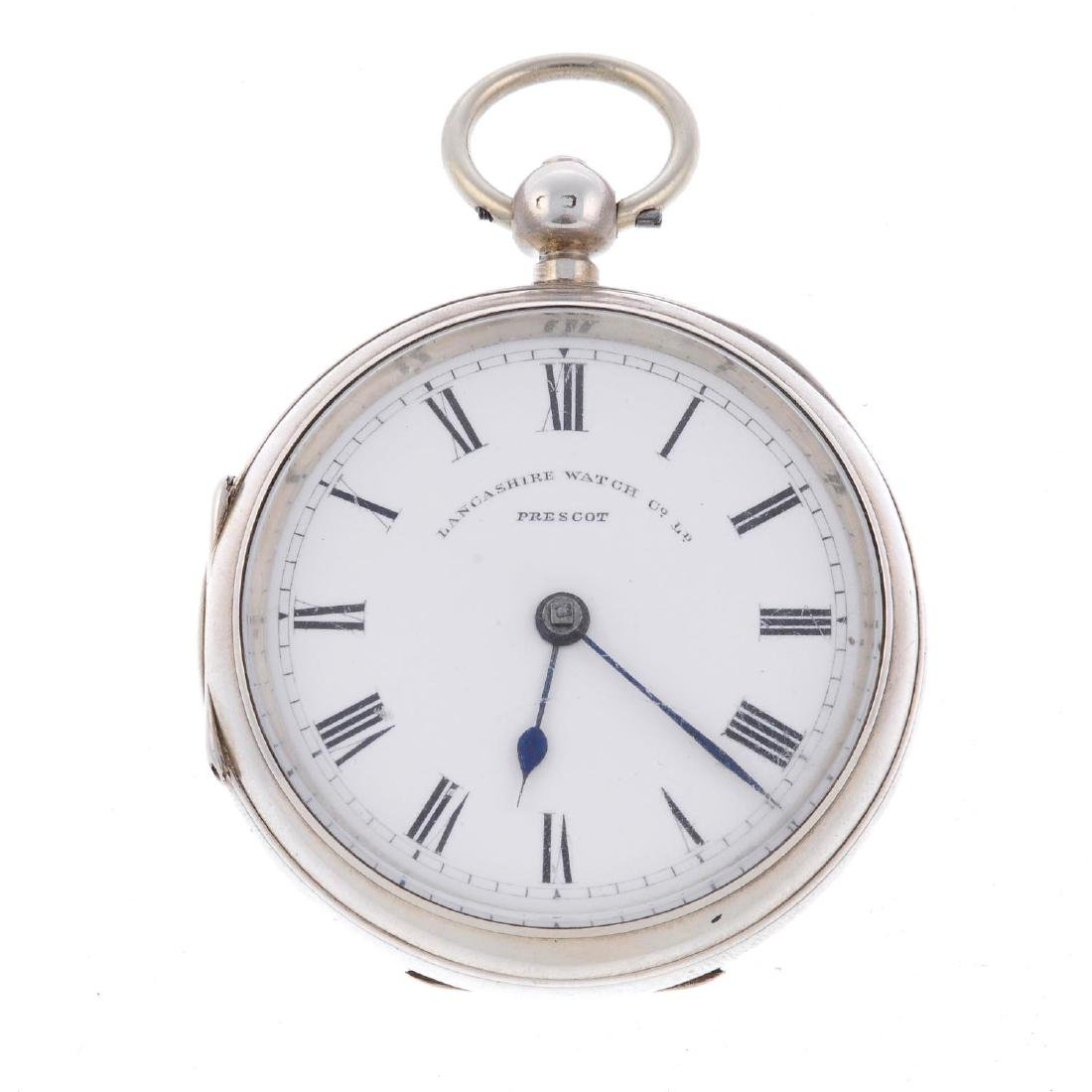 An open face pocket watch by Lancashire Watch Company.