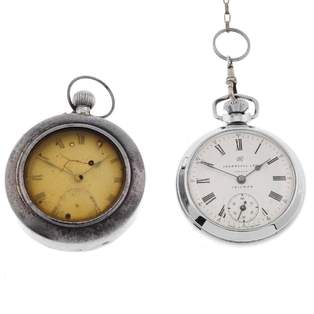 A chrome plated open face pocket watch by Ingersoll.