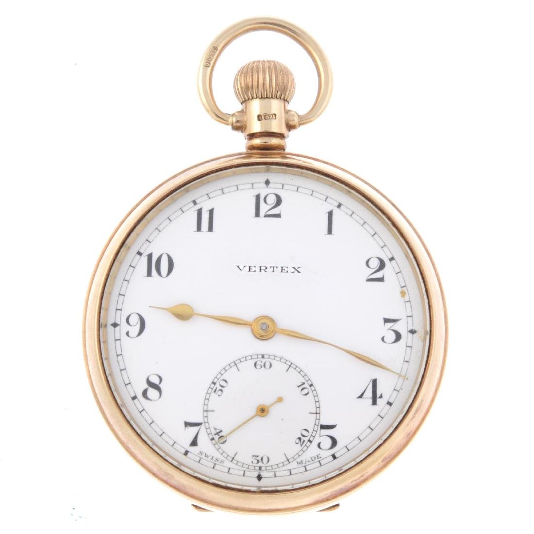 An open face pocket watch by Vertex. 9ct yellow gold