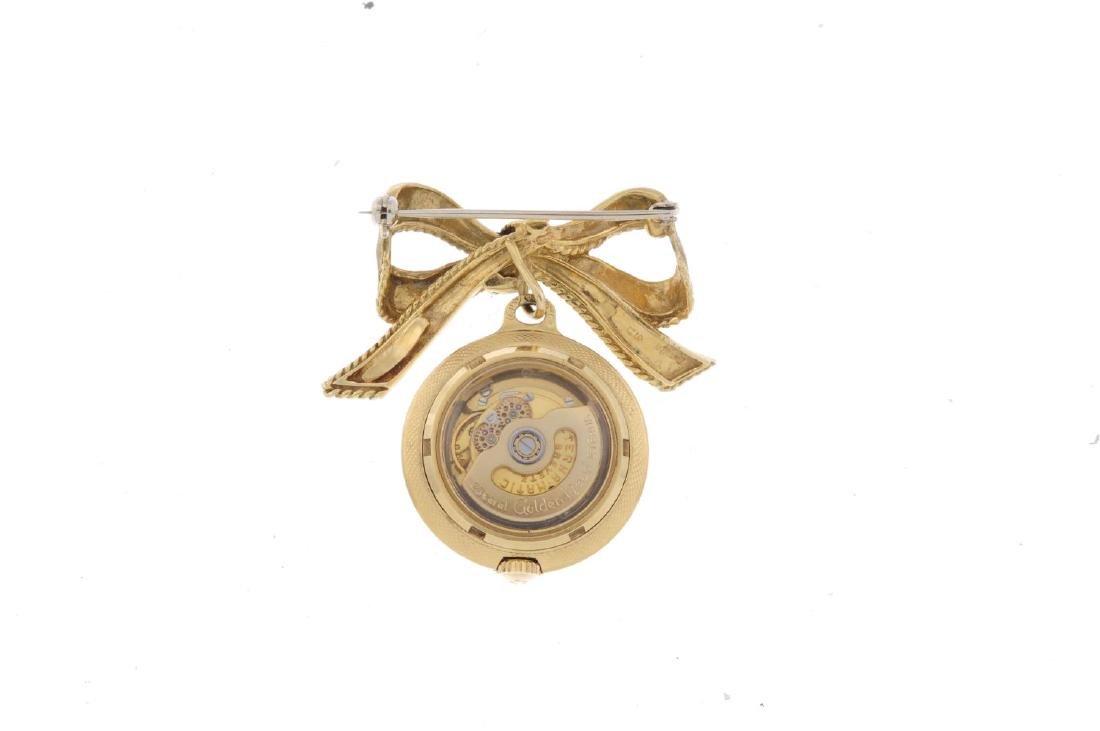 An open face pendent watch by Eterna. Yellow metal case - 2