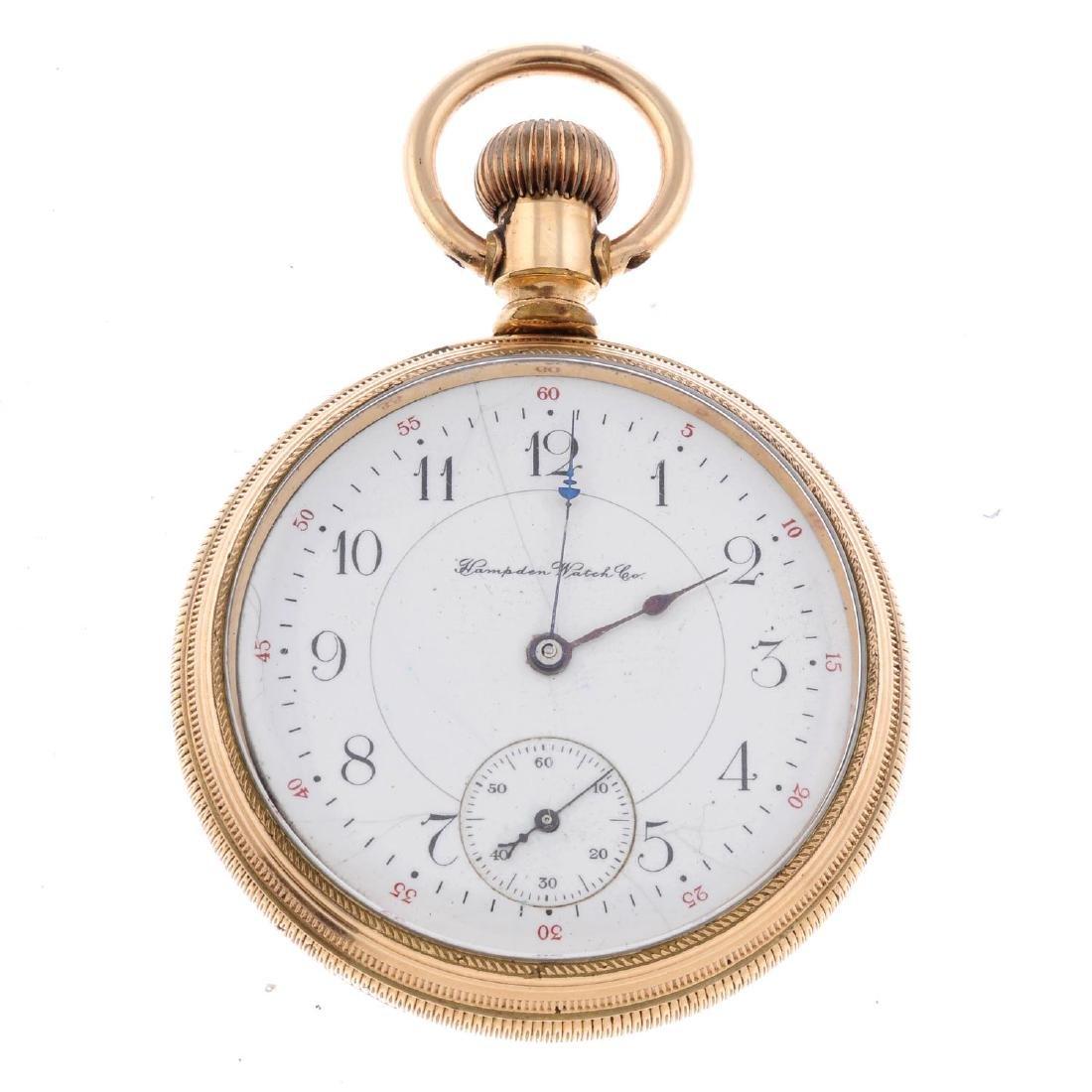 An open face railroad grade pocket watch by Hampden