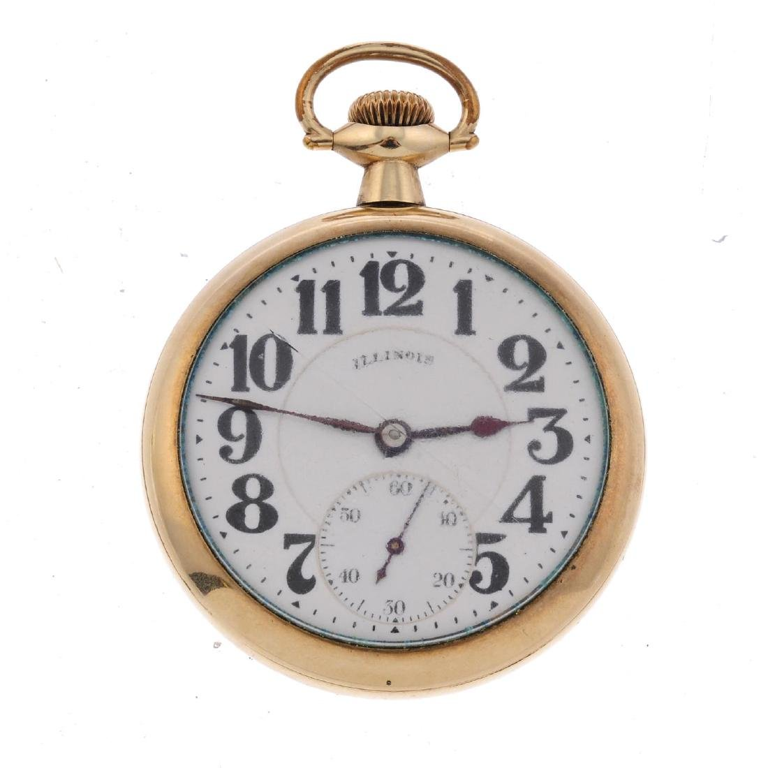 An open face railroad grade pocket watch by Illinois.