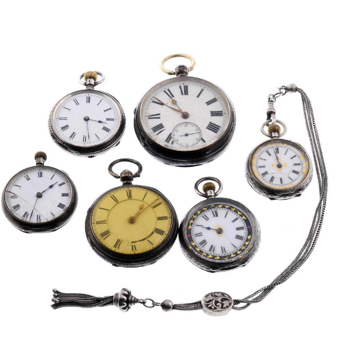 A group of six assorted silver pocket watches and fob