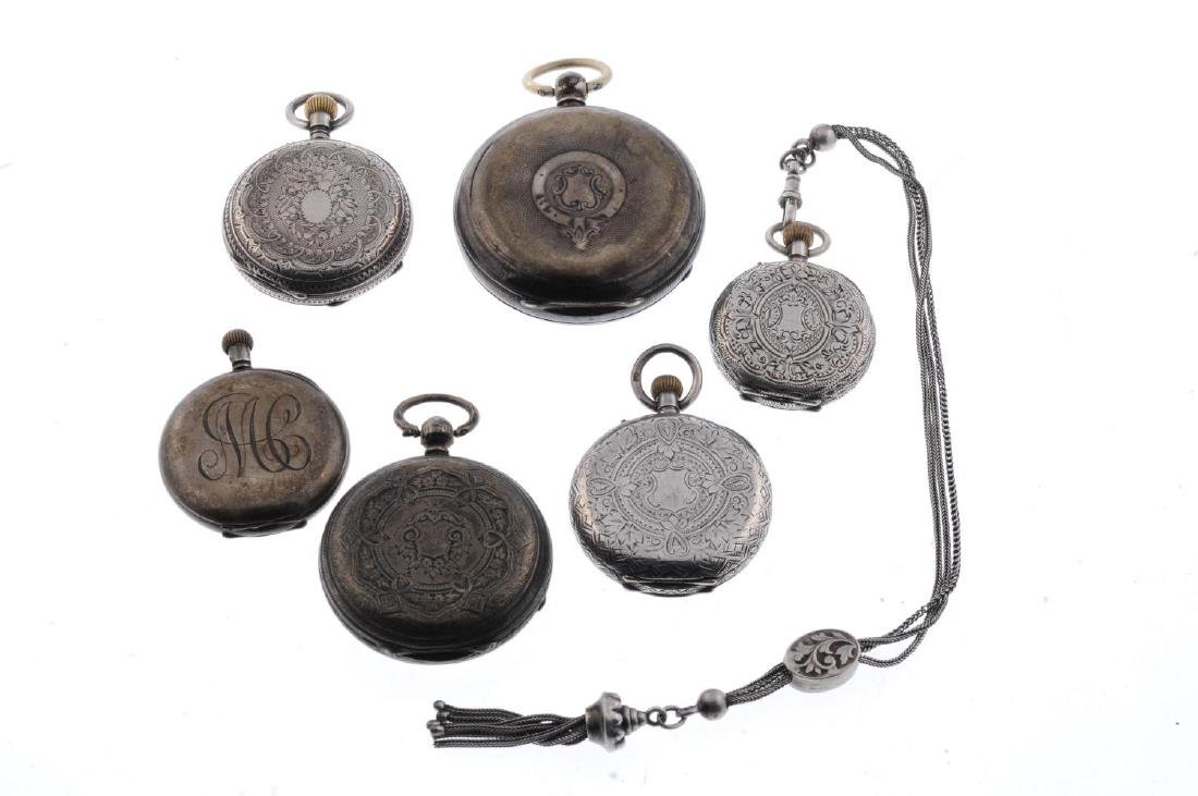 A group of six assorted silver pocket watches and fob - 2