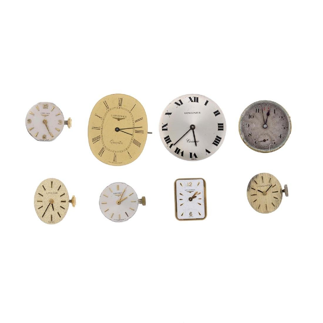 LONGINES - a group of eight assorted watch movements.