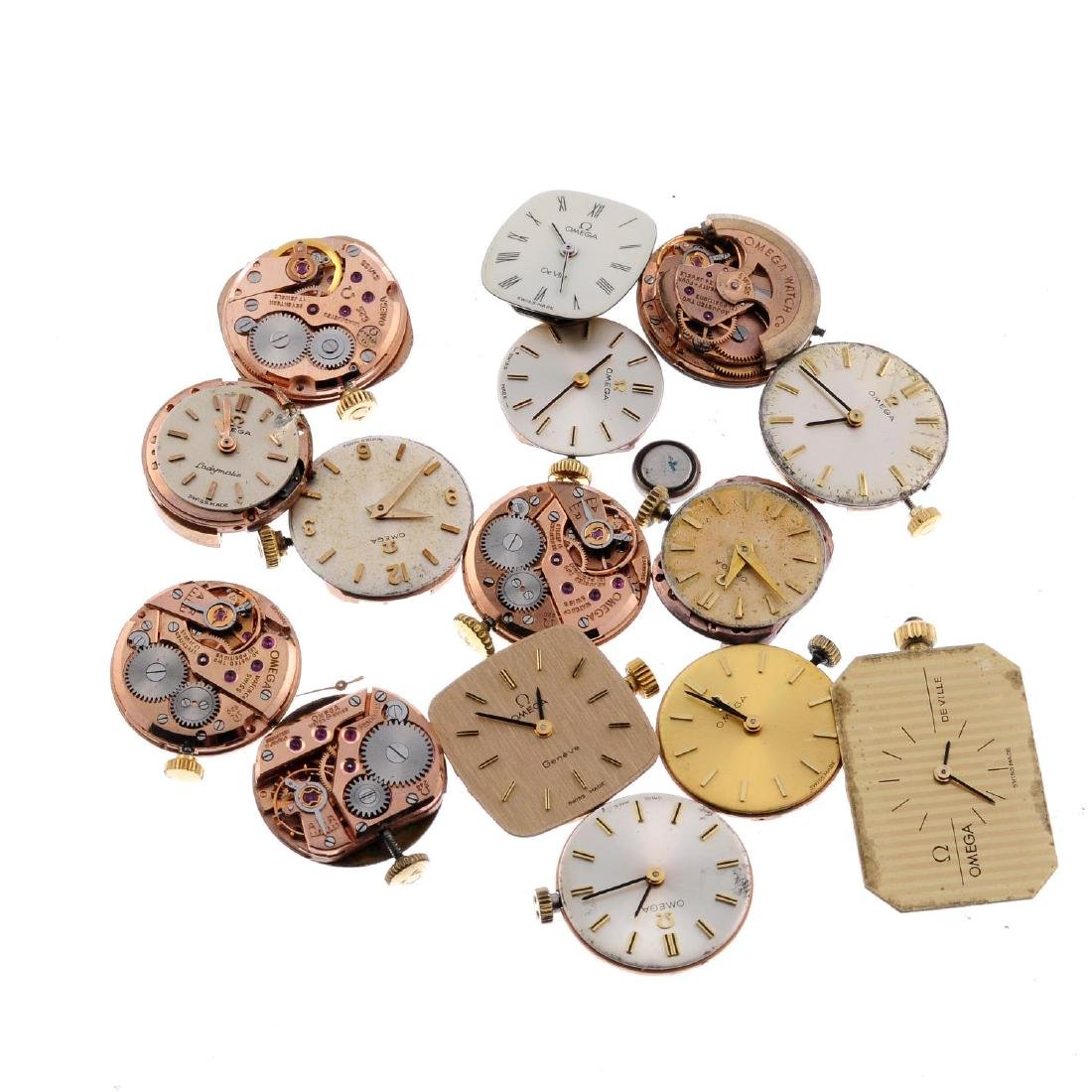 OMEGA - a group of fifteen assorted watch movements.