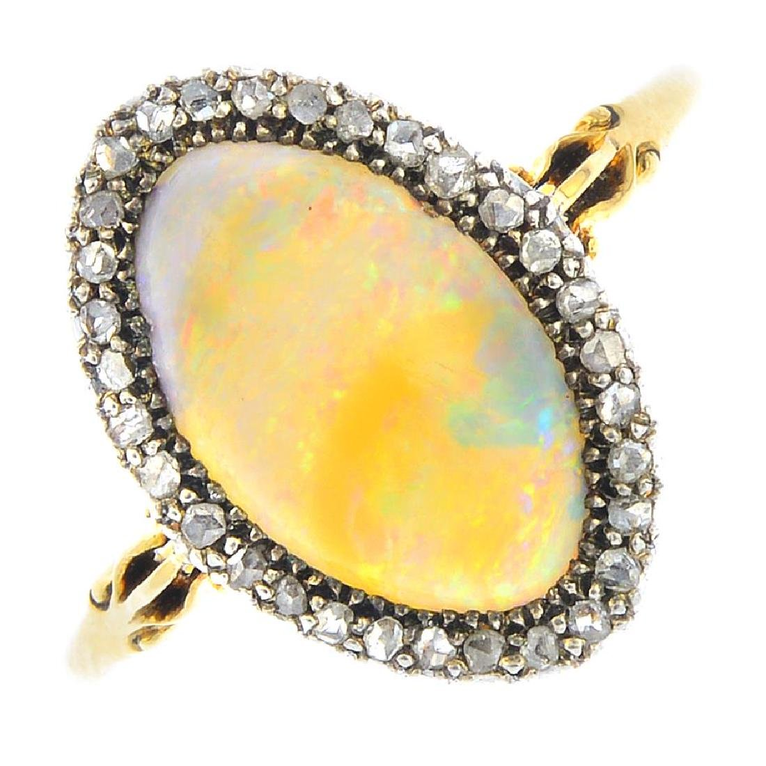 An early 20th century silver and 18ct gold, opal and