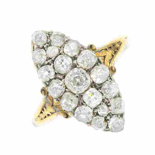 A late Victorian 18ct gold diamond cluster ring. Of